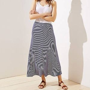 Loft Blue Stripe Maxi Skirt Stretchy Size XS